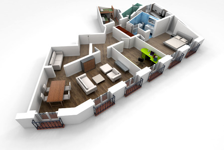 3D rendering of a roofless architecture model showing an apartment interior fully furnished  Imagens