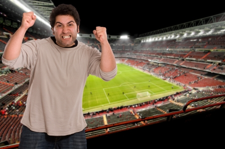 football stadium:  Angry supporter at the soccer stadium   Stock Photo