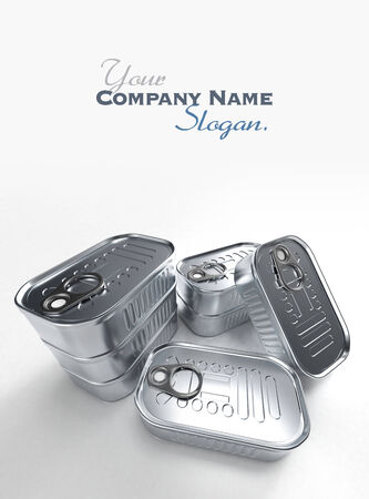 sardine can: 3D rendering of a group of aluminum tin can