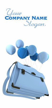 3D rendering of a group of blue balloons carrying  a schoolbag  Stock Photo