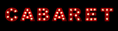show time:  3D rendering of the sign cabaret written with glowing letters  Stock Photo
