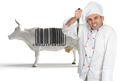 traceability:  Crazy chef with a knife and a cow with a barcode