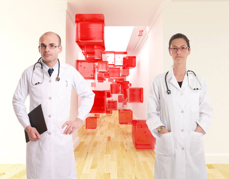 cor:  A couple of doctors in front of a corridor with an abstract décor of red cubes