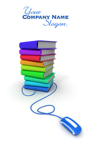 bibliography: 3D rendering of a pile of multicolored books connected to a computer mouse
