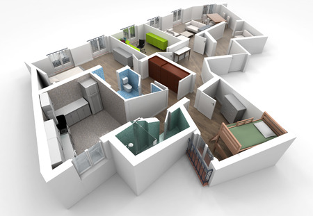 roofless: 3D rendering of a roofless architecture model showing an apartment interior fully furnished  Stock Photo
