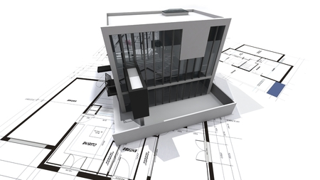 architecture model:   3D rendering of a modern design building on top of blueprints