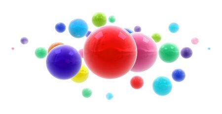 midair:   3D rendering of multicolored shinny spheres floating in midair