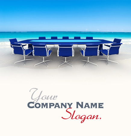3D rendering  of a Meeting table and chairs in the water of a Caribbean beach photo