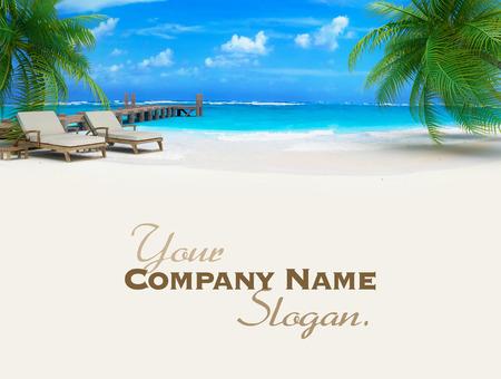 熱帯の牧歌的なビーチの桟橋、サンラウン ジャーのペアの 3 D レンダリング