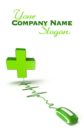 suggesting: pharmacys symbol green cross connected to a computer mouse suggesting an online pharmacy Stock Photo