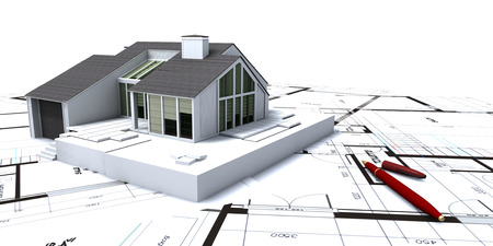 modern house exterior:  Architectural model on top of architect s blueprints with an open pen