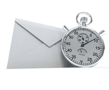 3D rendering of a white envelope and a chronometer   photo