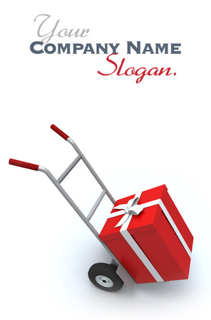 red gift box: Big red gift box in a push cart