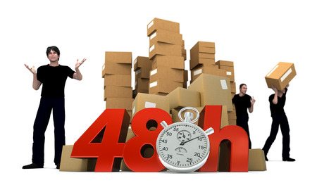 3D rendering of piles of cardboard boxes and three workers with the words 48 Hrs and a Chronometer   photo