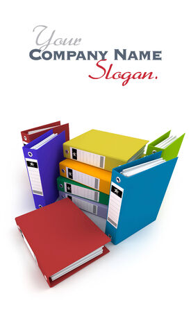 3D rendering, of a heap of brightly colored ring binders on a white background photo