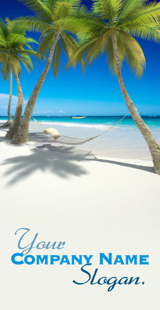 caribbean cruise: 3D rendering of a hammock with cushions hanging from palm trees on a tropical beach Stock Photo