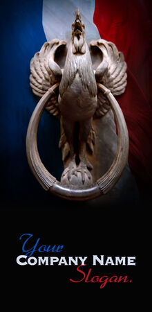 knocker: Door knocker shaped like a cock on a French flag background
