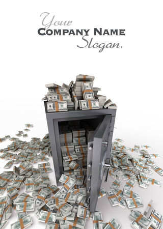 3D rendering of a safe full of hundred dollar notes photo
