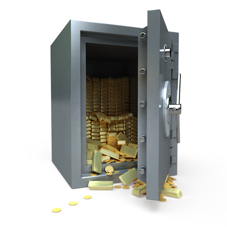 3D rendering of a safe full of gold photo