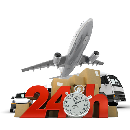 chronometer:  3D rendering of  a pile of packages and an airplane with the words 24 Hrs and a chronometer
