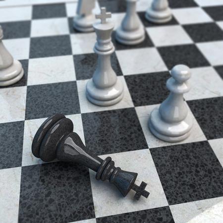 Schachmatt: Laufende Schachspiel mit NIEDERLAGE Lizenzfreie Bilder