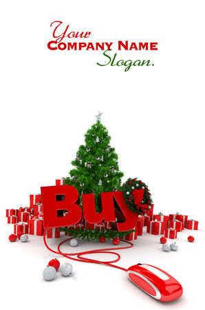 3D rendering of a Christmas d�cor, and the word buy connected to a computer mouse Stock Photo - 26451008