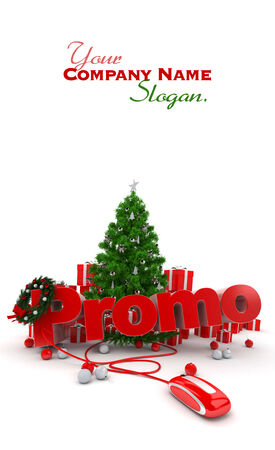 promo: Christmas background with the word Promo connected to a computer mouse