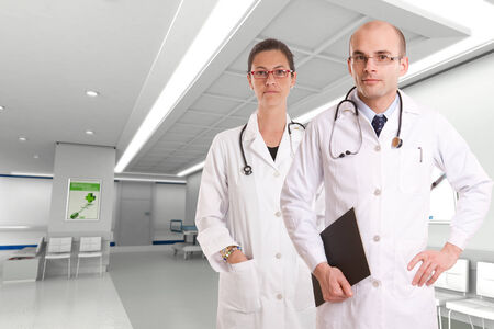 Female and male doctors in a hospital interior photo