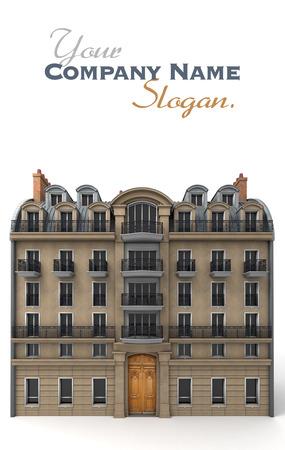 3D-weergave van een typisch Parijs gebouw