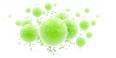 midair:   3D rendering of an abstract background with green shinny spheres and droplets   Stock Photo
