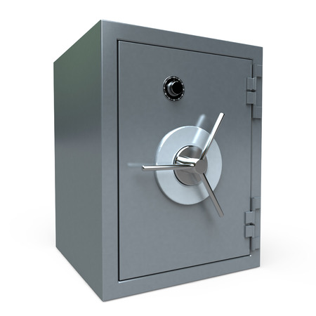 3D rendering of a locked  safe deposit box photo
