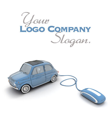 Blue vintage car connected to a computer mouse