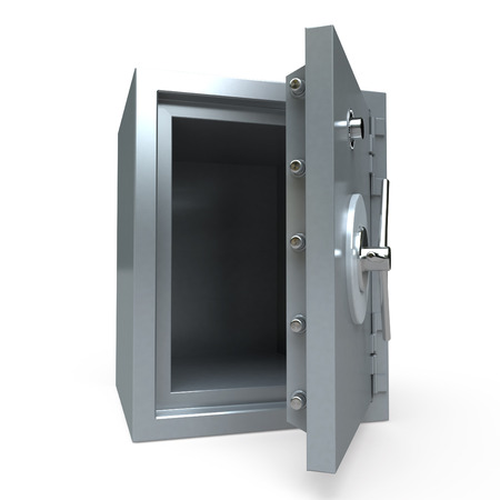 3D rendering of an open empty safe photo