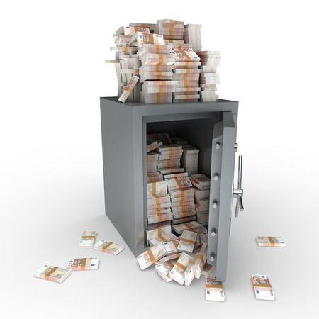 3D rendering of a safe full of fifty euro notes photo