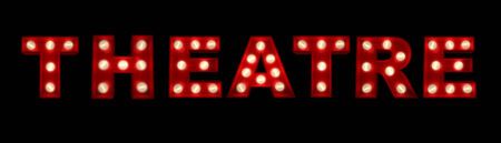 3D rendering of the sign Theatre (in French) written with glowing letters