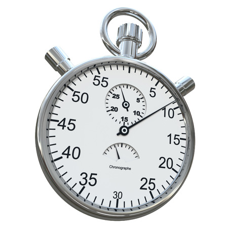 chronometer:  3D rendering of a silver chronometer on a white background  Stock Photo