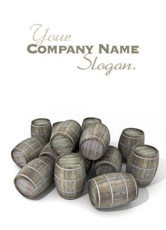 oak barrel: Wooden wine barrels in disorder