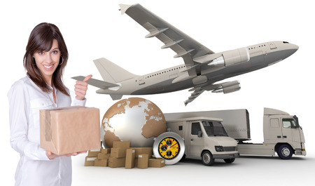 logistics world: Happy young woman holding a box with a transportation related