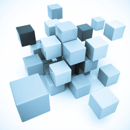 cubic: 3D rendering of a cubic in blue shades  Stock Photo