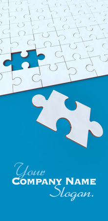 missing puzzle piece:  3D rendering of a puzzle in blue and white