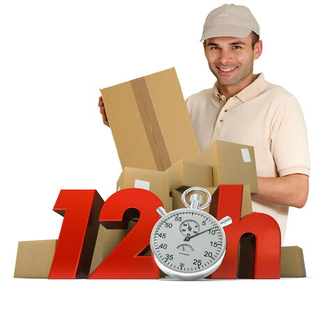 A messenger delivering a parcel with 12hrs and a chronometer   photo