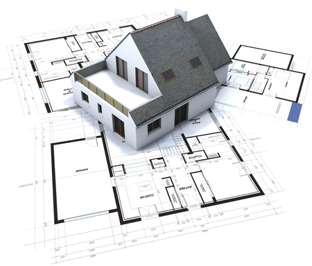 residential home:  Architectural model on top of architect s blueprints against a white