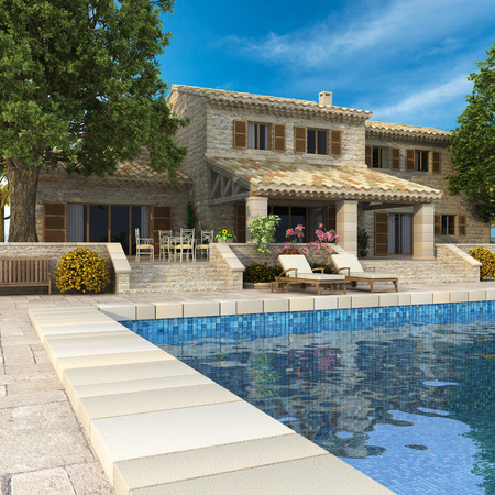3D rendering of a magnificent villa with garden and swimming pool photo