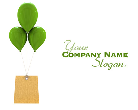 balloon background:   3D rendering of a label hanging from three green flying balloons