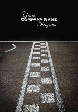 car race track: Start or finish line on kart race Stock Photo