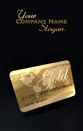 A gold credit card on a black  photo