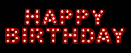 3d text:  3D rendering of the sign HAPPY BIRTHDAY written in glowing letters  Stock Photo