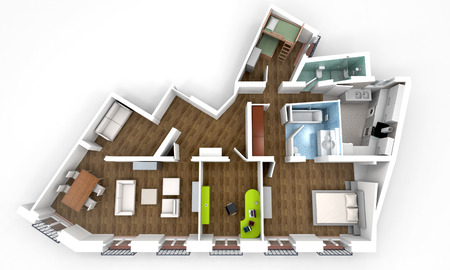plan view: 3D rendering of a roofless architecture model showing an apartment interior fully furnished  Stock Photo