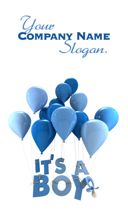 its a boy:  3D rendering of blue balloons with its a boy hanging from the strings and a pacifier