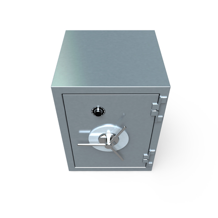 3D rendering of a locked  safe deposit box photo